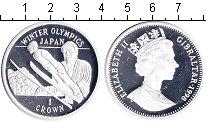 Изображение Монеты Гибралтар 1 крона 1998 Серебро Proof- Зимняя олимпиада Япо