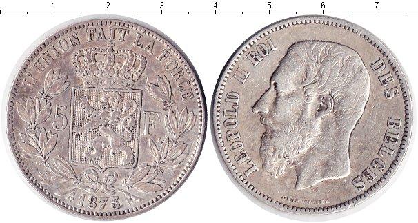 Картинка Монеты Бельгия 5 франков Серебро 1873