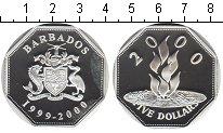 Изображение Монеты Барбадос 5 долларов 2000 Серебро Proof- Миллениум