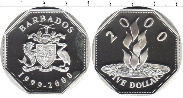Картинка Монеты Барбадос 5 долларов Серебро 2000