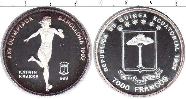 Картинка Монеты Экваториальная Гвинея 7.000 франков Серебро 1992
