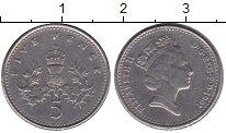 Изображение Мелочь Великобритания 5 пенсов 1990 Медно-никель XF