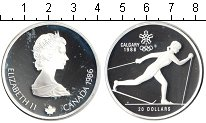 Изображение Монеты Канада 20 долларов 1986 Серебро Proof Олимпиада-1988 в Кал