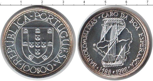 Картинка Монеты Португалия 100 эскудо Серебро 1988