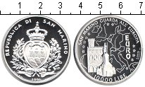 Изображение Монеты Сан-Марино 10000 лир 1996 Серебро Proof Евро
