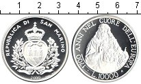 Изображение Монеты Сан-Марино 10000 лир 2000 Серебро Proof 1700 лет Сан-Марино