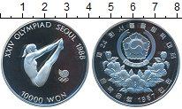 Изображение Монеты Южная Корея 10000 вон 1987 Серебро Proof- XXIV Олимпиада. Сеул