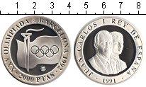 Изображение Монеты Испания 2000 песет 1991 Серебро Proof- XXV Олимпиада. Барсе