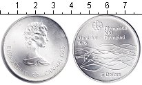 Изображение Монеты Канада 5 долларов 1975 Серебро UNC Олимпиада-1976. Монр