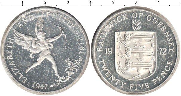 Картинка Мелочь Гернси 25 пенсов Серебро 1972