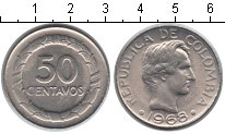 Изображение Мелочь Колумбия 50 сентаво 1968 Медно-никель XF