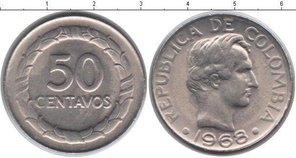 Картинка Мелочь Колумбия 50 сентаво Медно-никель 1968