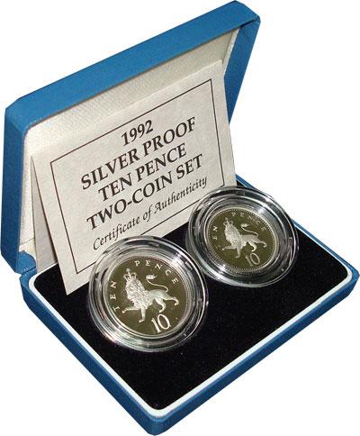 Изображение Подарочные наборы Великобритания 10 пенсов в пруфе 1992 Серебро Proof `Подарочный набор ``