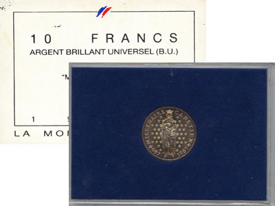 Изображение Подарочные монеты Франция 10 франков 1987 Серебро UNC `Подарочная монета `