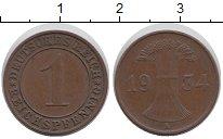 Изображение Мелочь Веймарская республика 1 пфенниг 1934 Медь XF