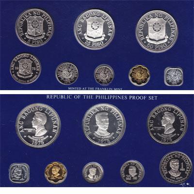 Изображение Подарочные монеты Филиппины Набор proof-монет 1975 года 1975  Proof Набор монет 1975 год