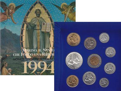 """Изображение Подарочные наборы Сан-Марино Набор монет 1994 года 1994  UNC """"На монетах изображе"""