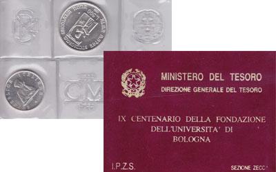Изображение Подарочные наборы Италия Болонский университет 1988  UNC Набор монет посвящен