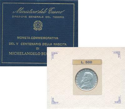 Изображение Подарочные наборы Италия Микеланджелло Буонаротти 1975   Монета посвящена 500