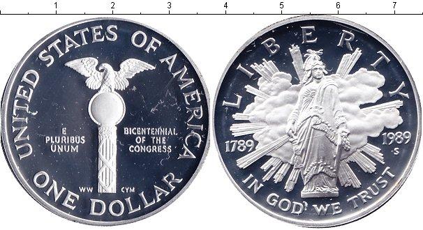 Купить серебряную монету америки недорого 1 доллар 1989 года.