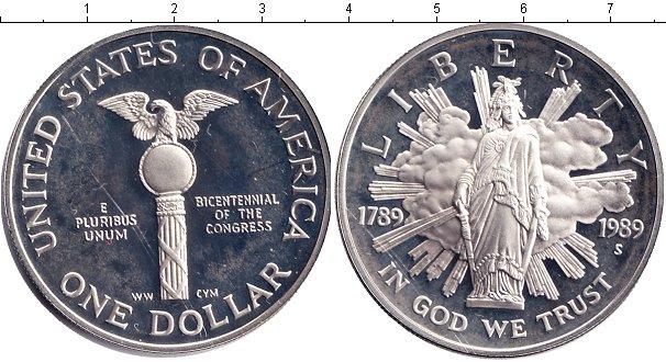 Купить монету америки 1 доллар из серебра 1989 года состояни.