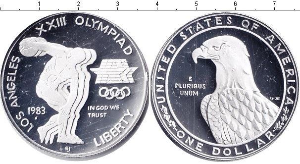 Картинка Монеты США 1 доллар Серебро 1983