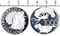 Изображение Монеты Италия 1000 лир 1994 Серебро Proof- Птица и дельфин