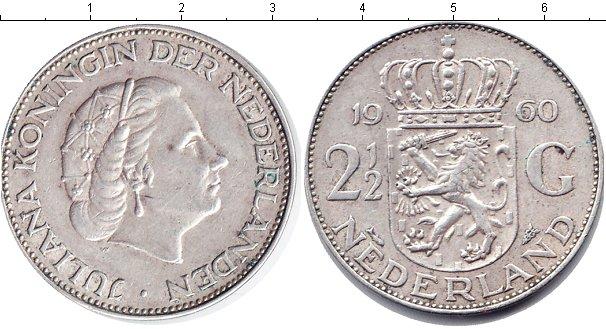 Картинка Монеты Нидерланды 2 1/2 гульдена Серебро 1960