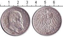 Изображение Монеты Вюртемберг 3 марки 1909 Серебро XF Вильгельм II