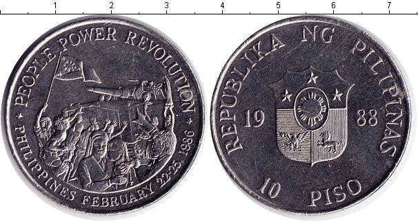 Картинка Монеты Филиппины 10 песо Медно-никель 1988