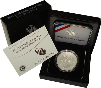 Изображение Монеты США 1 доллар 2014 Серебро UNC Подарочная монета по