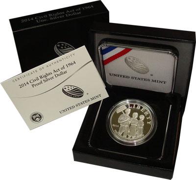 Изображение Подарочные монеты США Закон о гражданских правах 2014 Серебро Proof Подарочная монета по