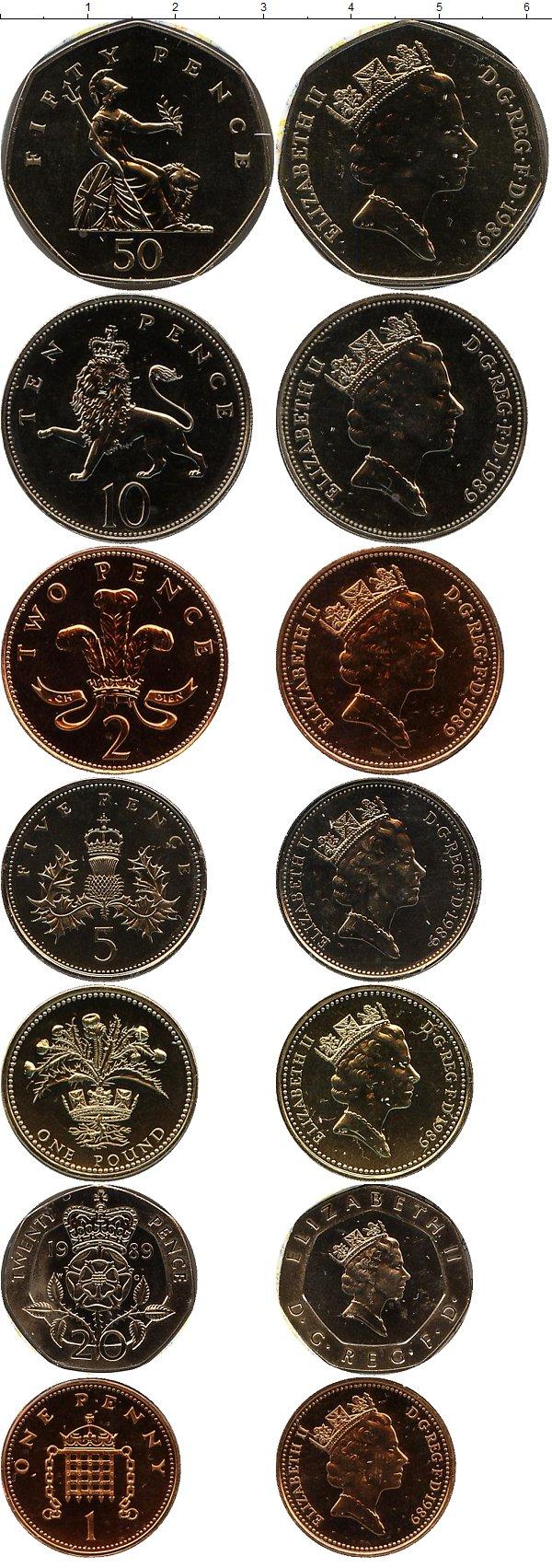 Картинка Подарочные наборы Великобритания Регулярный выпуск монет 1989 года  1989