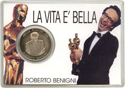 Изображение Подарочные монеты Сомали Роберто Бениньи-обладатель Оскара 1999 Медно-никель  Подарочная монета по