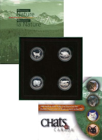 Изображение Подарочные монеты Канада Кошки 1999 Серебро Proof Подарочный набор пос