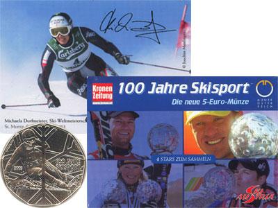 Изображение Подарочные наборы Австрия Лыжный спорт 2005 Серебро  Подарочная монета по