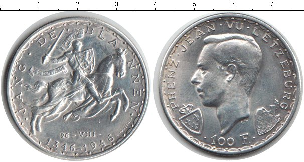 Картинка Монеты Люксембург 100 франков Серебро 1946