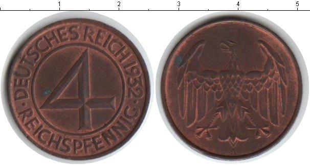 Картинка Монеты Веймарская республика 4 пфеннига Медь 1932