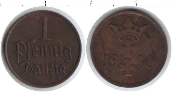 Картинка Монеты Данциг 1 пфенниг Медь 1930