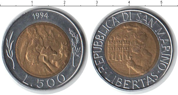Картинка Монеты Сан-Марино 500 лир Биметалл 1994