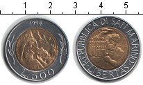 Изображение Монеты Сан-Марино 500 лир 1994 Биметалл XF