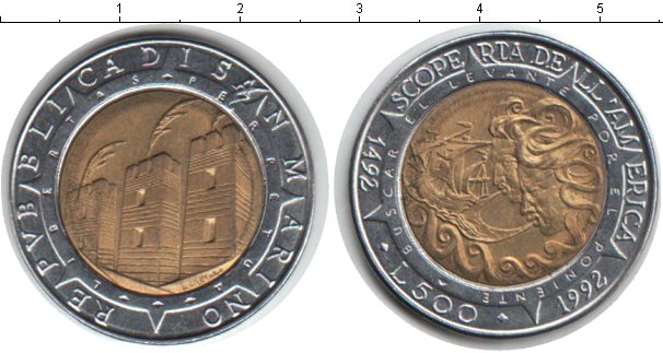 Картинка Монеты Сан-Марино 500 лир Биметалл 1992