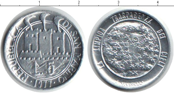 Картинка Монеты Сан-Марино 5 лир Алюминий 1977