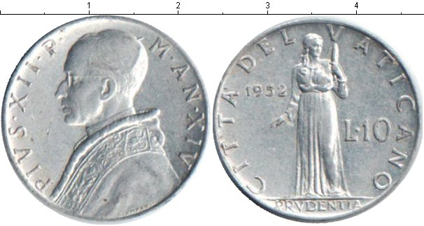 Картинка Монеты Ватикан 10 лир Алюминий 1952