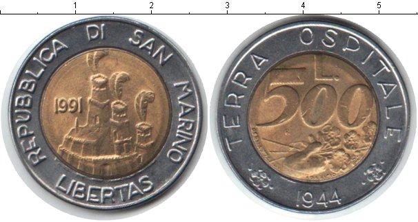 Картинка Монеты Сан-Марино 500 лир Биметалл 1991
