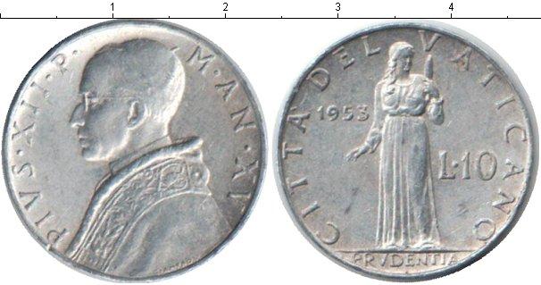 Картинка Монеты Ватикан 10 лир Алюминий 1953