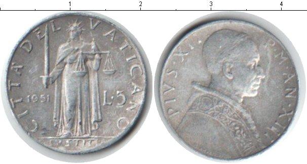 Картинка Монеты Ватикан 5 лир Алюминий 1951