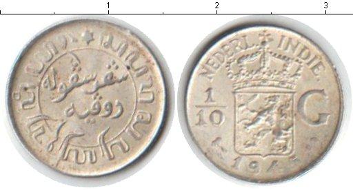 Картинка Монеты Нидерландская Индия 1/10 гульдена Серебро 1945