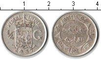 Изображение Монеты Нидерландская Индия 1/4 гульдена 1937 Серебро XF