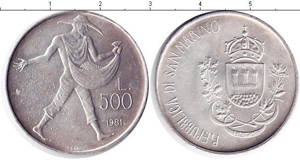 Картинка Монеты Сан-Марино 500 лир Серебро 1981